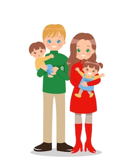 Família feliz com dois filhos com roupas de inverno.