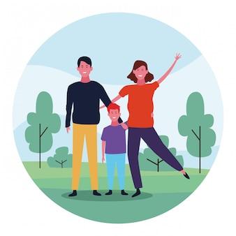 Família feliz com filho, design colorido