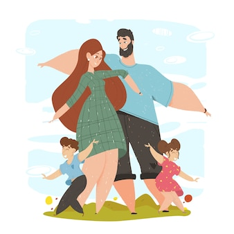 Família feliz com filhos