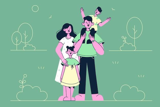 Família feliz com ilustração de crianças