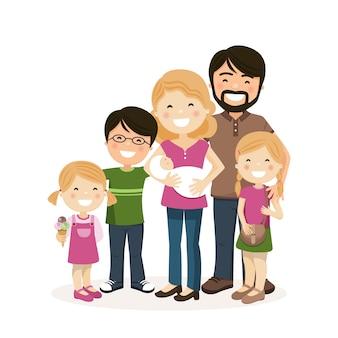 Família feliz com os pais, três filhos e babyborn
