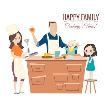 Família feliz com pais e filhos cozinhando na cozinha