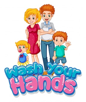 Família feliz com sinal de lavagem da mão