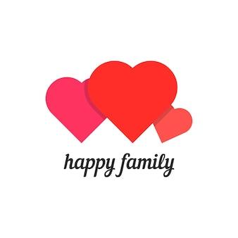 Família feliz com três corações. conceito de cuidado parental, mãe, pai, filho, marido, esposa, segurança, controle dos pais. isolado no fundo branco. ilustração em vetor design de marca moderna tendência de estilo simples