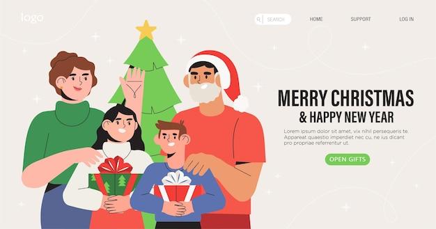 Família feliz comemora o natal e o ano novo juntos.