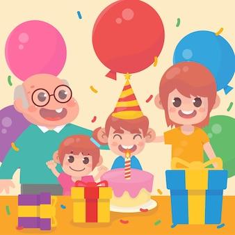 Família feliz comemorando aniversários