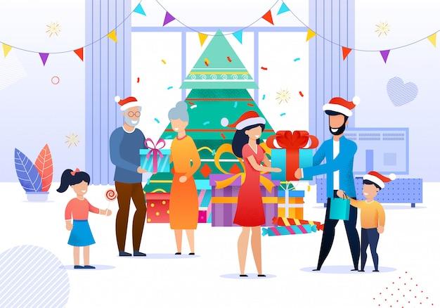 Família feliz, comemorando o ano novo