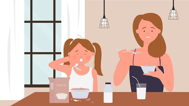 Família feliz comendo café da manhã comida engraçada mãe menina filha comendo a refeição matinal