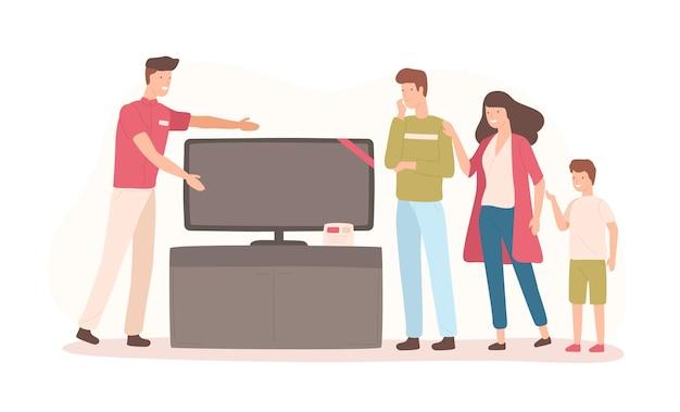 Família feliz comprando tv de tela plana