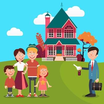 Família feliz comprando uma casa nova. agente imobiliário com chaves da casa. ilustração vetorial