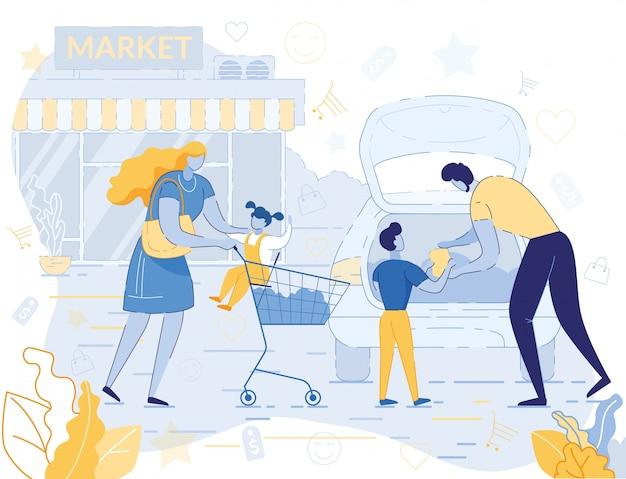 Família feliz compras no supermercado no fim de semana