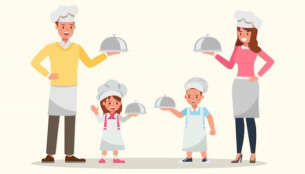 Família feliz cozinhando juntos.