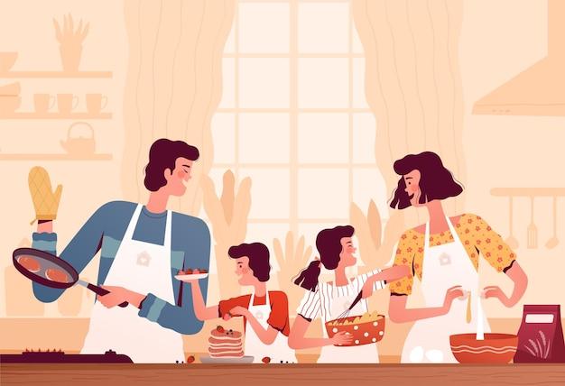 Família feliz cozinhando panquecas na cozinha