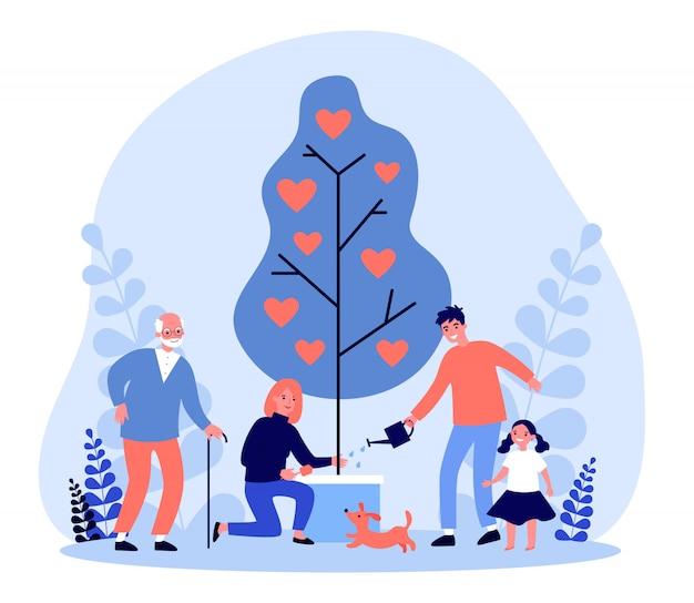 Família feliz, crescendo a árvore com corações