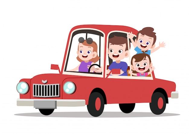 Família feliz crianças andando de ilustração vetorial de carro