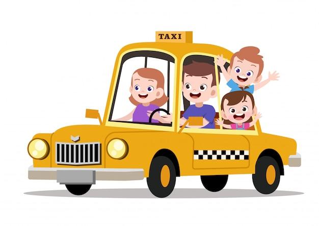 Família feliz crianças andando de ilustração vetorial de táxi