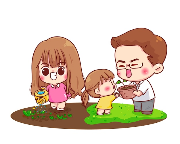 Família feliz cuidando dos pais juntos ilustração dos desenhos animados