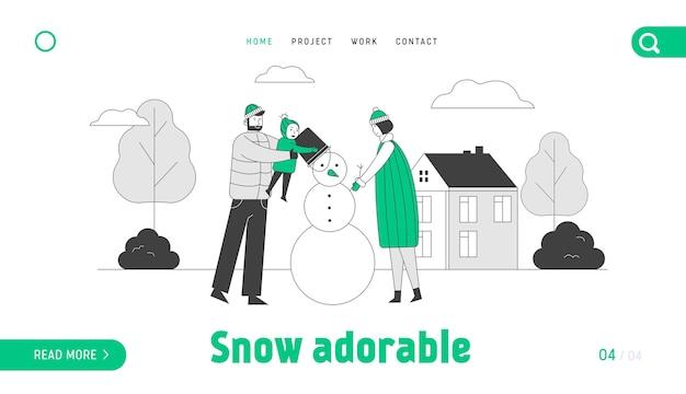 Família feliz de mãe, pai e bebê fazendo a página inicial do boneco de neve
