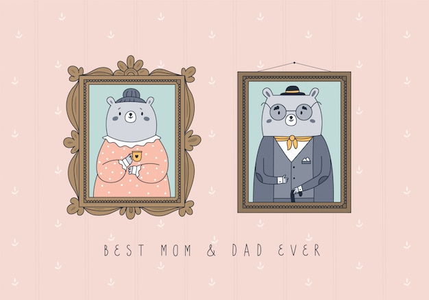 Família feliz de quadros de ursos de pelúcia. melhor mãe, pai de todos os tempos