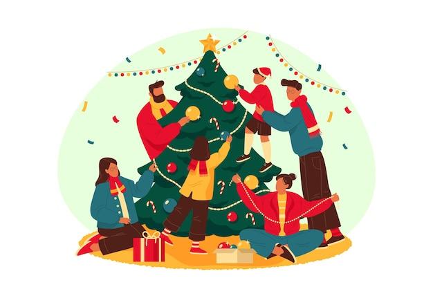 Família feliz decora o banner da árvore do ano novo