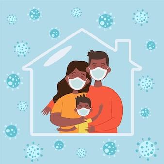 Família feliz dentro de casa sendo sálvia do vírus