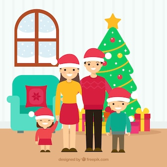 Família feliz dentro