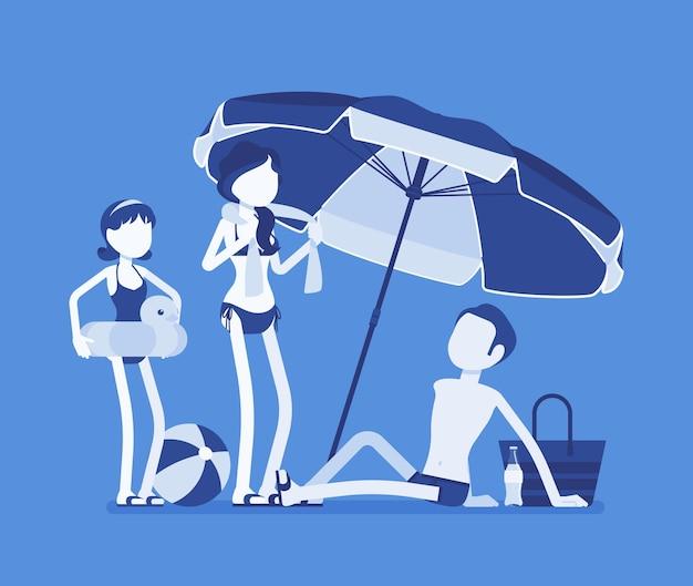 Família feliz descansando na ilustração da praia