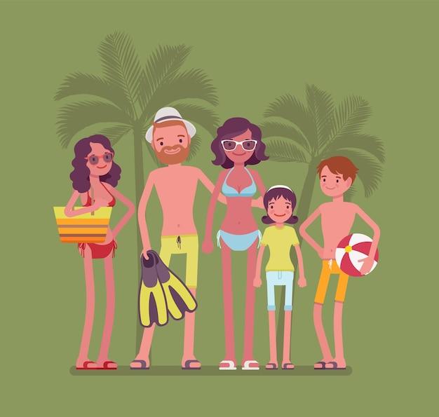 Família feliz descansando na ilustração do resort