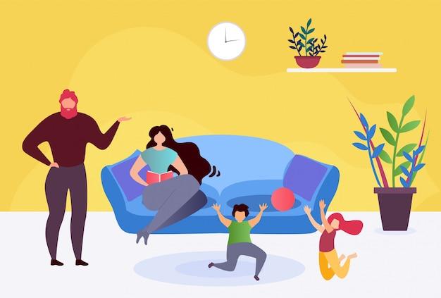 Família feliz descansar na sala de estar em casa junto ilustração plana