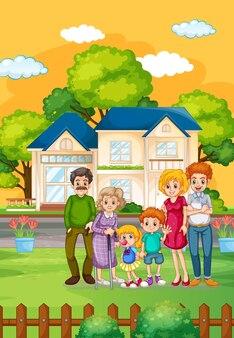 Família feliz do lado de fora de casa