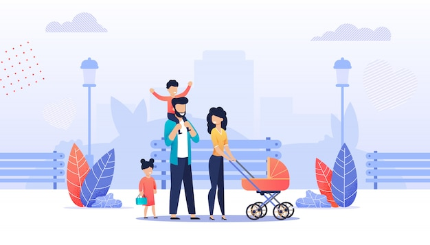 Família feliz dos desenhos animados andando no parque da cidade juntos