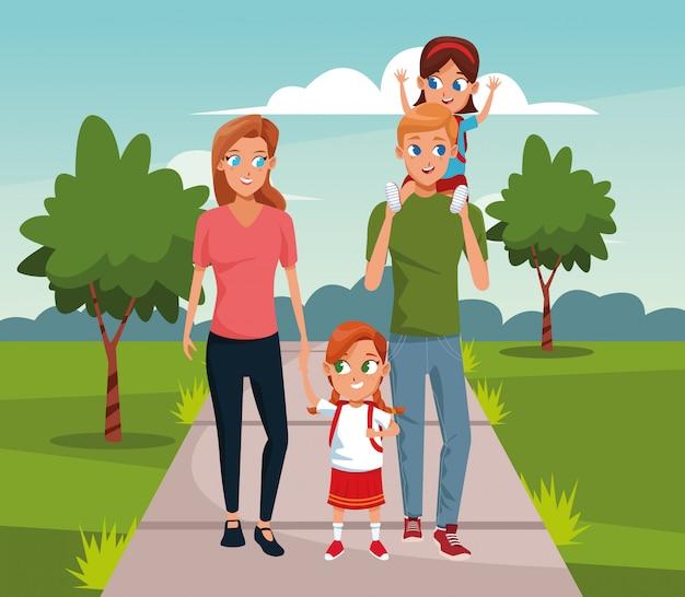 Família feliz dos desenhos animados, caminhando com as meninas sobre a paisagem