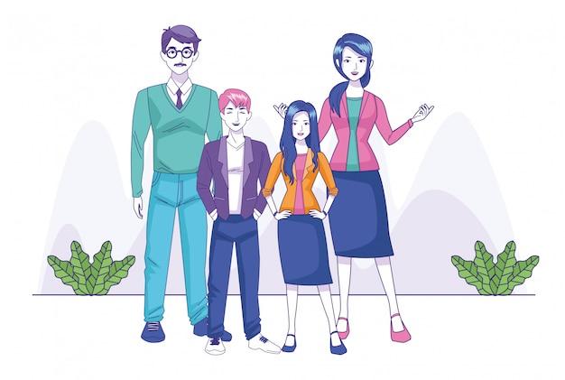 Família feliz dos desenhos animados com adolescente menina e menino em pé