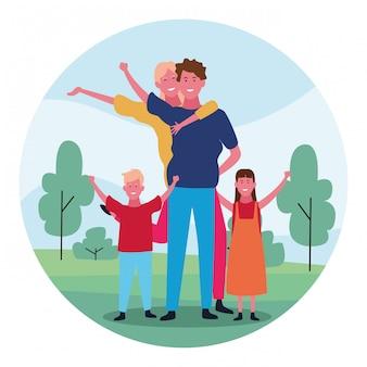 Família feliz dos desenhos animados, design colorido