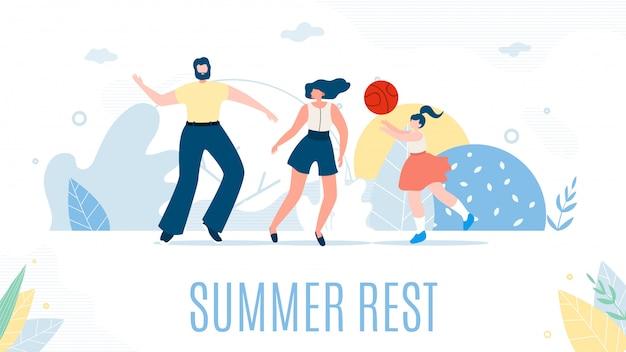 Família feliz dos desenhos animados e descanso de verão na natureza.