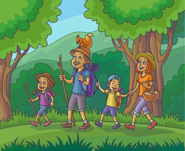 Família feliz é caminhadas na floresta ilustração vetorial