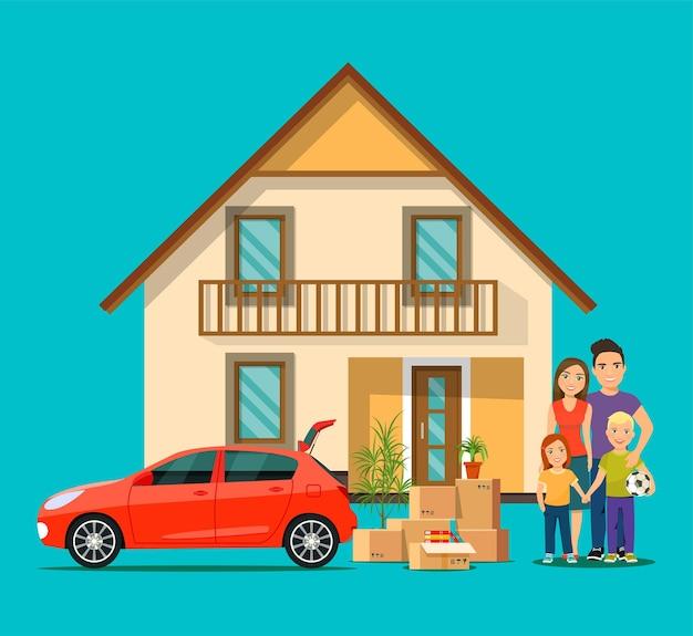 Família feliz e casa nova. coisas na caixa ao lado do porta-malas do carro. ilustração plana do vetor