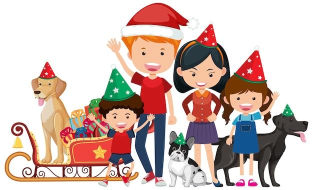 Família feliz e isolada comemorando o natal
