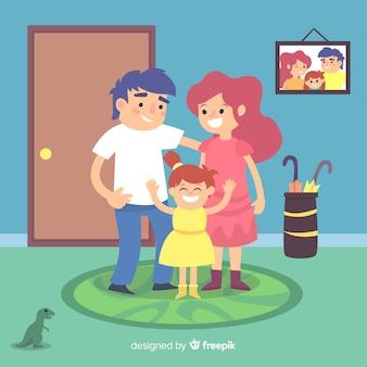 Família feliz em casa com design plano