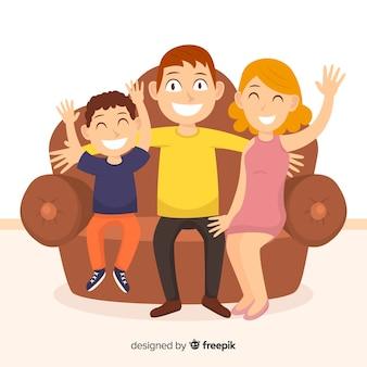 Família feliz em casa conceito