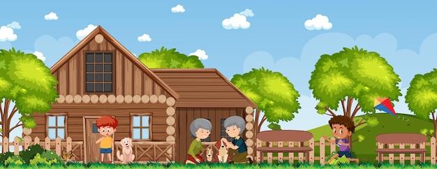 Família feliz em casa rural