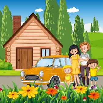 Família feliz em frente da casa