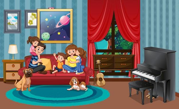 Família feliz, em, ling, sala