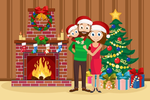 Família feliz em pé ao lado da árvore e da lareira. pai, mãe e filha estão sorrindo. Vetor Premium