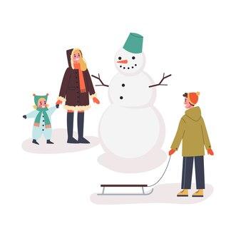 Família feliz em pé para o boneco de neve na rua. as pessoas se divertem. atividade de inverno. ilustração em estilo cartoon
