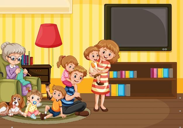 Família feliz, em, sala de estar, ilustração