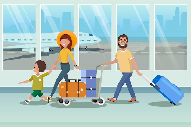 Família feliz embarque de avião no aeroporto vector