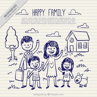 Família feliz esboços fundo