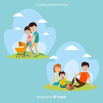 Família feliz fazendo atividades ao ar livre. design de personagem