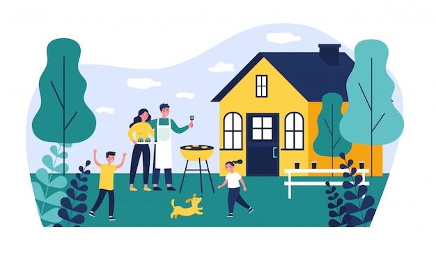 Família feliz fazendo churrasco no jardim ilustração